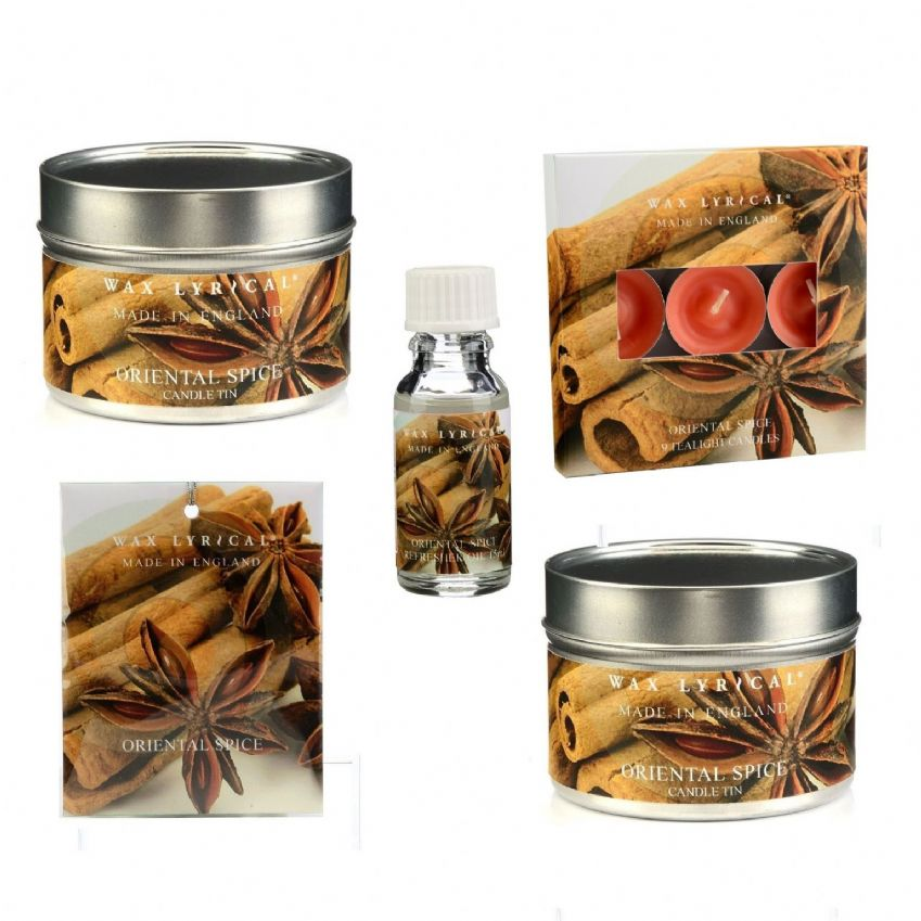 Oriental Spice Medium Gift Set -  Scented Candles Tealights Tins Sachet Refreshing Oil